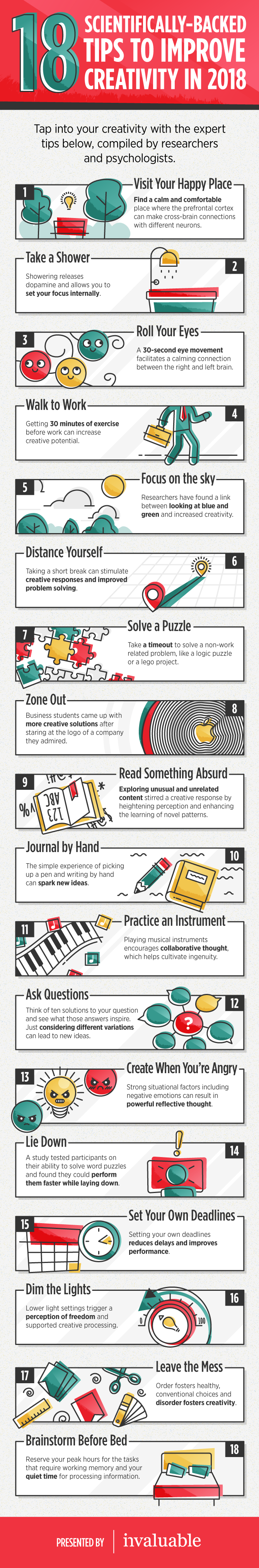 invaluable creativity tips infographic